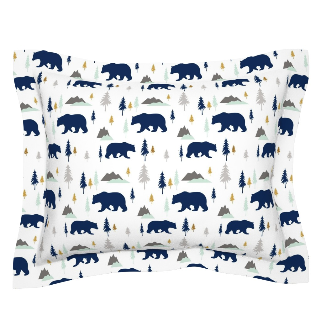 Sebright Pillow Sham featuring Bears Mountains Forest by sproutz