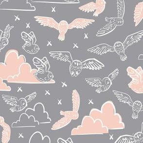 owls gray + peach