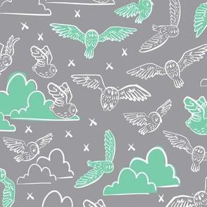 owls gray + green