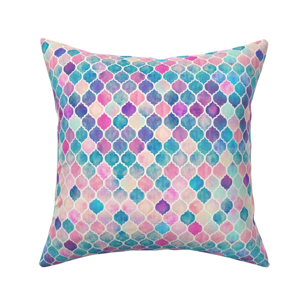 Catalan Throw Pillow featuring Rainbow Pastel Watercolor Moroccan Pattern extra small by micklyn