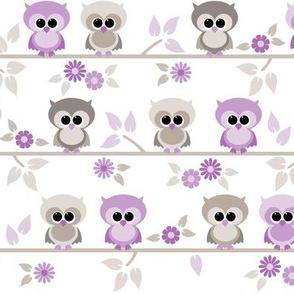 Baby owls in purple