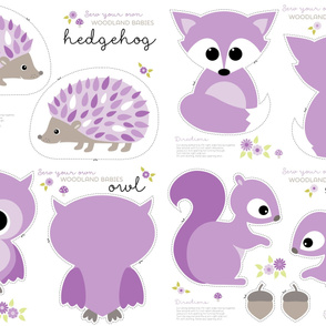 Baby woodland cut and sew in purple
