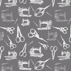 Vintage Sewing Supplies on Grey - Small