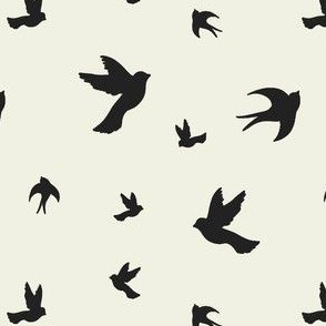 Black_and_Cream_Birds_Flying