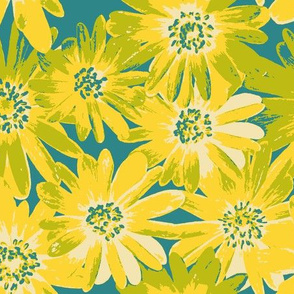 yellow anenomes on teal