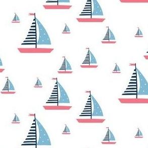 Pink and Blue Sailboats