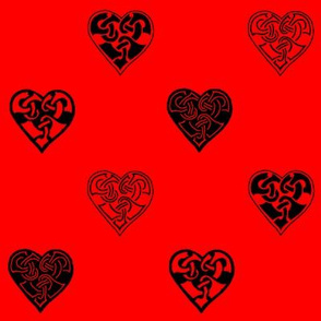 celt hearts fabric 2 red black