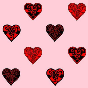 celt hearts fabric 2 red black pink