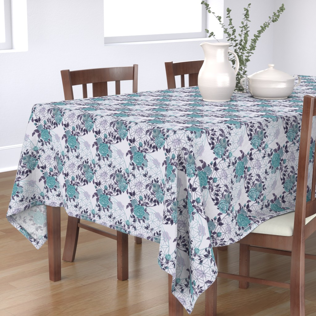 Bantam Rectangular Tablecloth featuring Vintage Teal / Mauve Flower of Life and Roses by maverickcreatrix