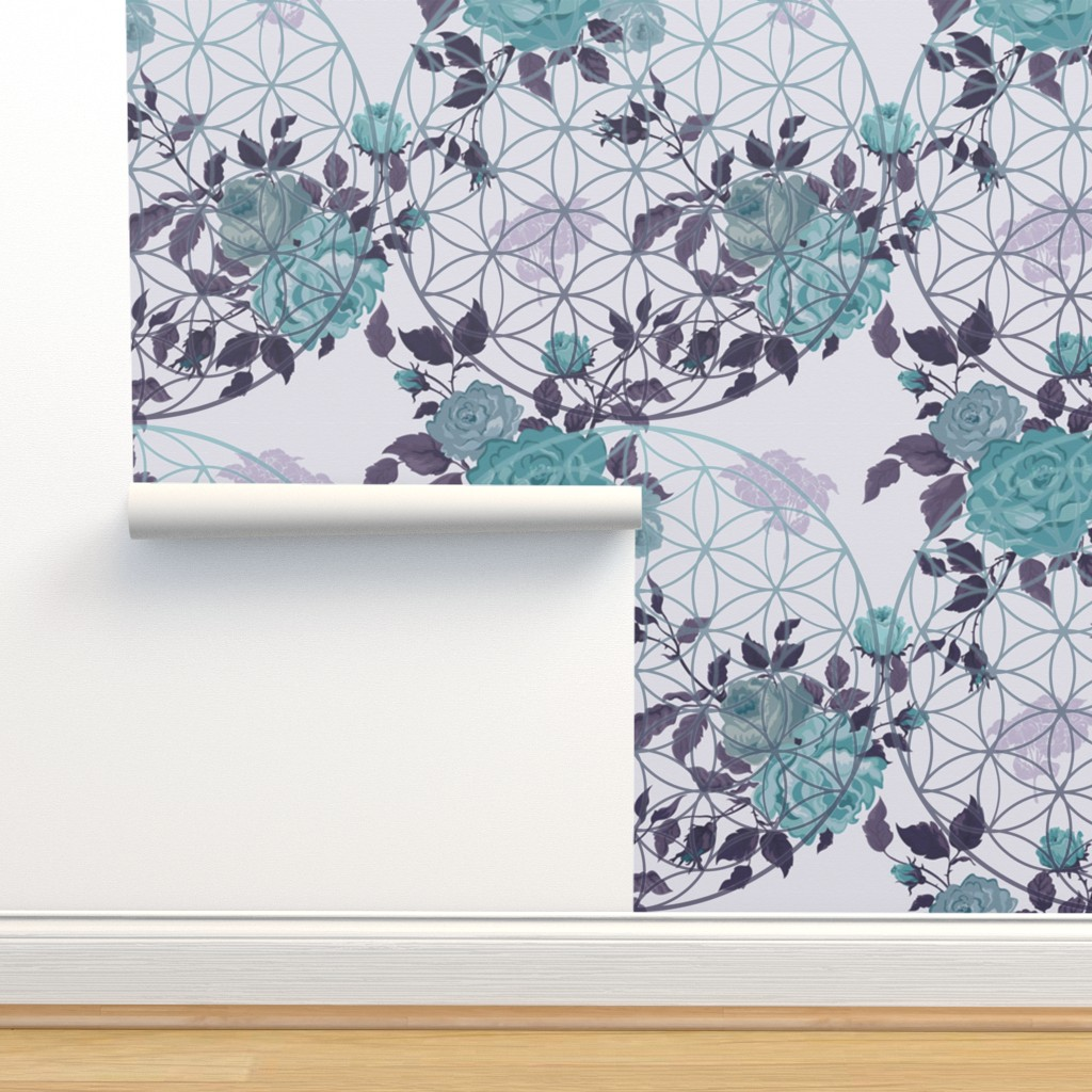 Isobar Durable Wallpaper featuring Vintage Teal / Mauve Flower of Life and Roses by maverickcreatrix