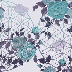 Vintage Teal / Mauve Flower of Life and Roses