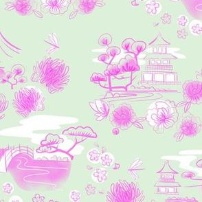 japanese garden toile