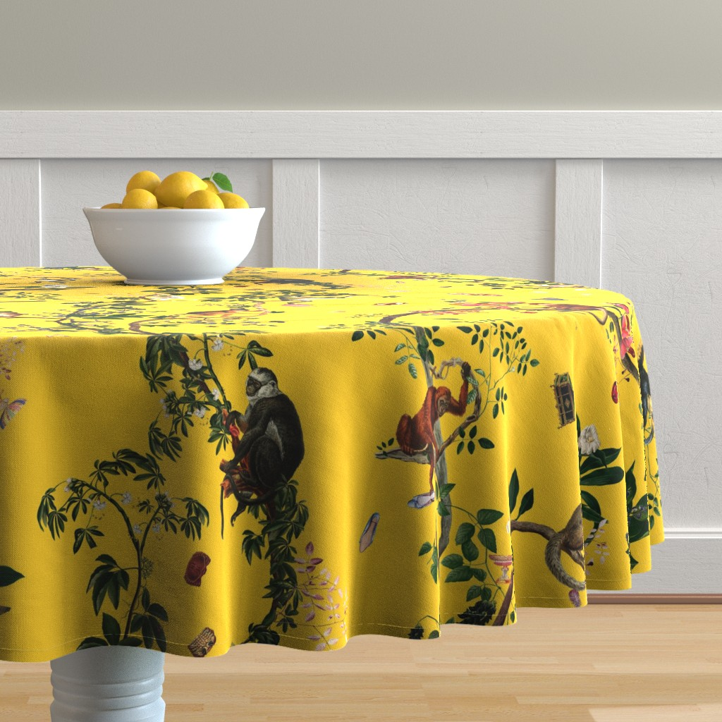 Malay Round Tablecloth featuring Monkey World Reportable Yellow by fifikoussout