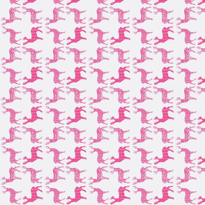 Hot Pink Meadow Deer on White SMALL SCALE