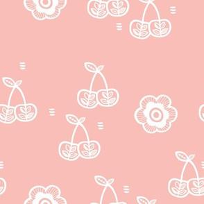 Sweet cherry blossom summer spring garden fruit illustration soft pink