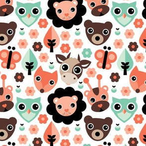 Farm life zoo safari and forest animals kids design in mint coral gender neutral