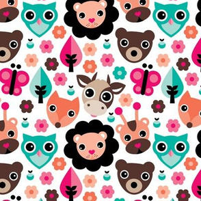 Farm life zoo safari and forest animals kids design in multi color girls
