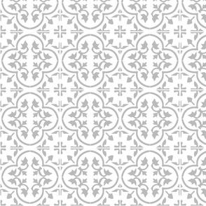 Grey Gray Light Moroccan Cement Tile Encaustic Tile Wallpaper & Fabric