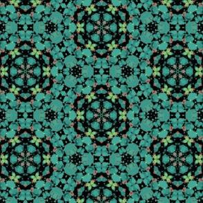 Geometric Pattern in Teals, Blues, Greens & Blacks & Corals