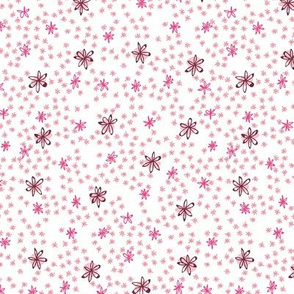Flowers in Pink on White