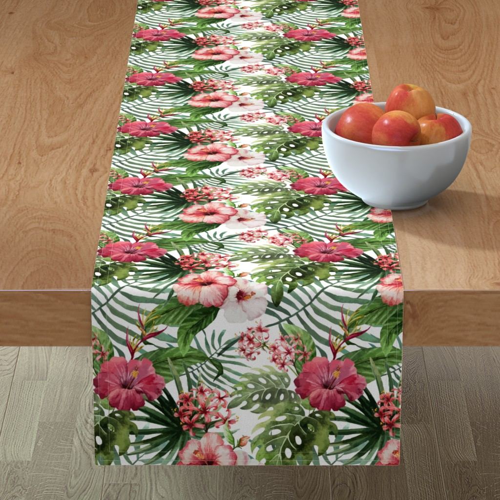 Minorca Table Runner featuring Topical Hawaii Watercolor Hibiscus Flowers Floral by furbuddy
