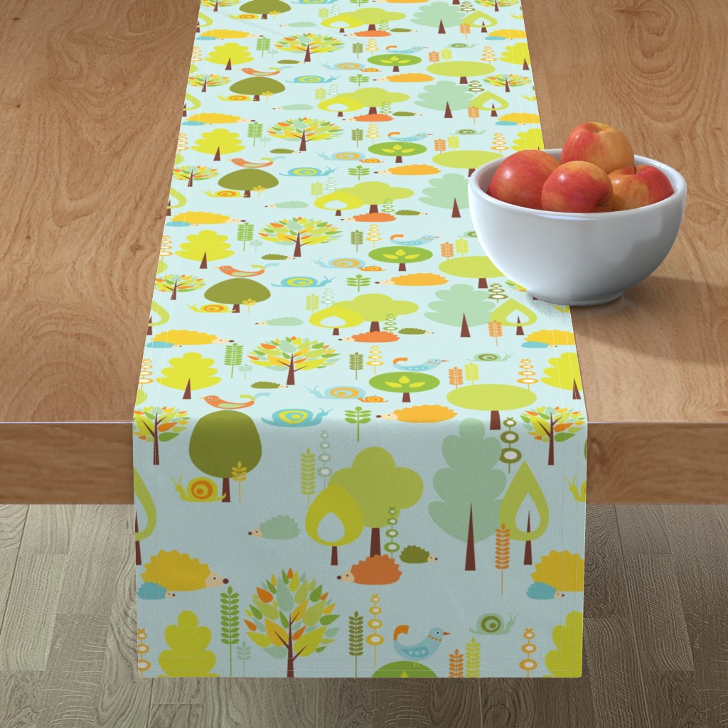 Minorca Table Runner featuring Forest Folk by kayajoy
