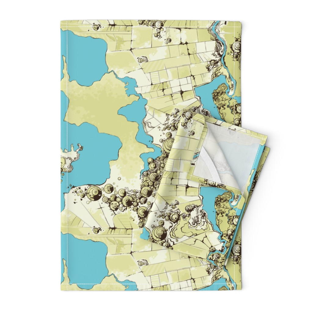 Orpington Tea Towels featuring Satellite Images by fuzzyskyfabric