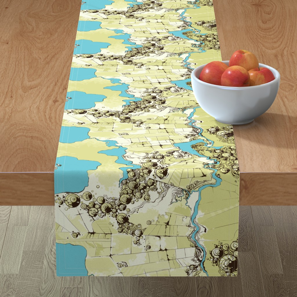 Minorca Table Runner featuring Satellite Images by fuzzyskyfabric