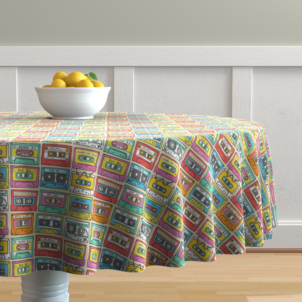 Malay Round Tablecloth featuring Nostalgia Smaller Audio Music Mix tape by caja_design