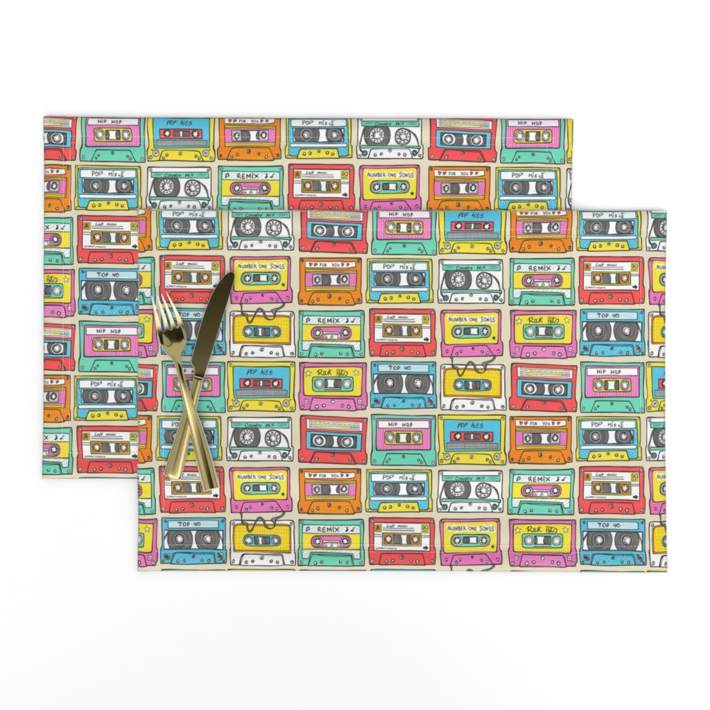 Lamona Cloth Placemats featuring Nostalgia Smaller Audio Music Mix tape by caja_design