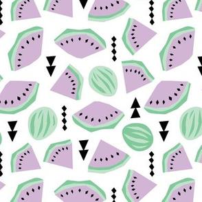 Lush summer watermelon fruit geometric water melon colorful tropical design lilac mint
