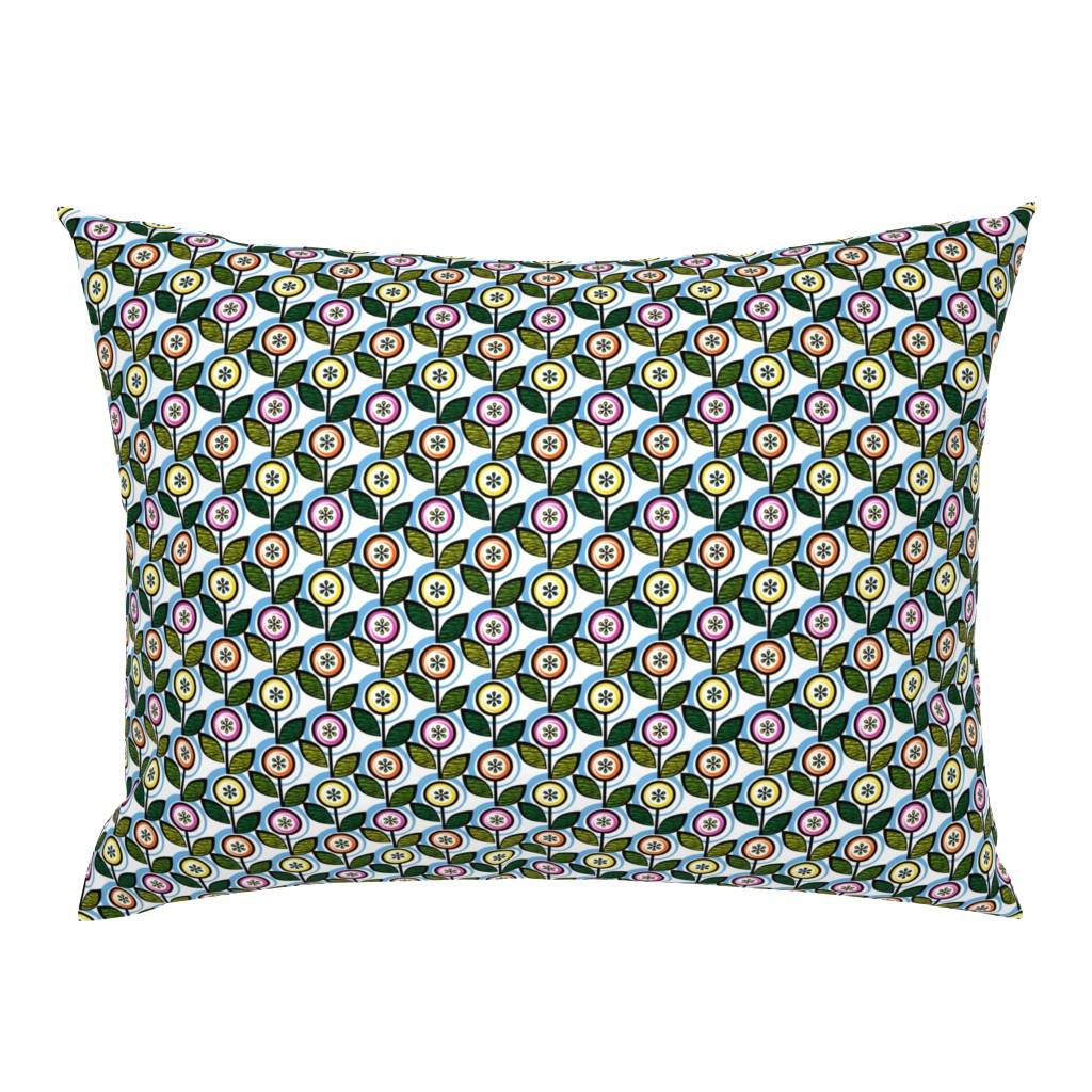 Campine Pillow Sham featuring Footnote Flower (Mini White & Blue)    midcentury modern garden floral flowers leaves nature spring summer by pennycandy