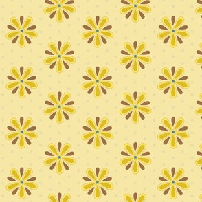 16-11D Retro 50s Flower Gold Yellow Brown Teal Floral Teal Polka Dot _Miss Chiff Designs