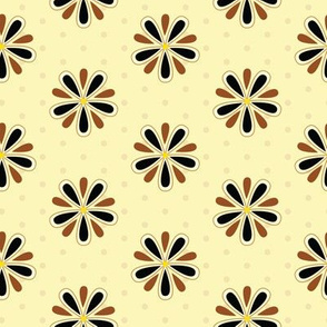 16-11C Retro 50s Brown floral || lemon black flower petals on pale pastel yellow polka dot _ Miss Chiff Designs