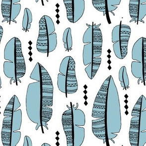 Aztec summer feathers bohemian ink black and white winter blue