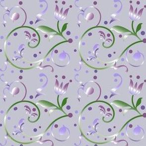 Purple Retro  Floral