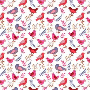 Pink birds on white