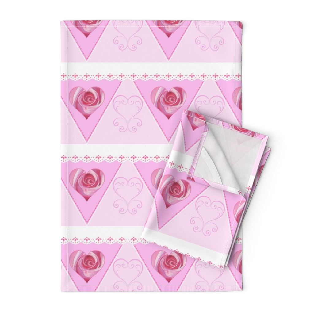 Orpington Tea Towels featuring Pink Romance Hearts Bunting by ann_aveyard