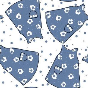 Little Pinafores - denim blue mono