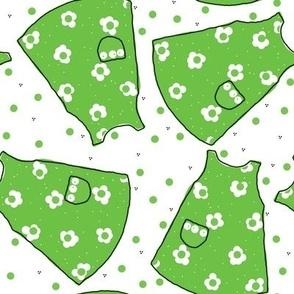 Little Pinafores - bright green mono