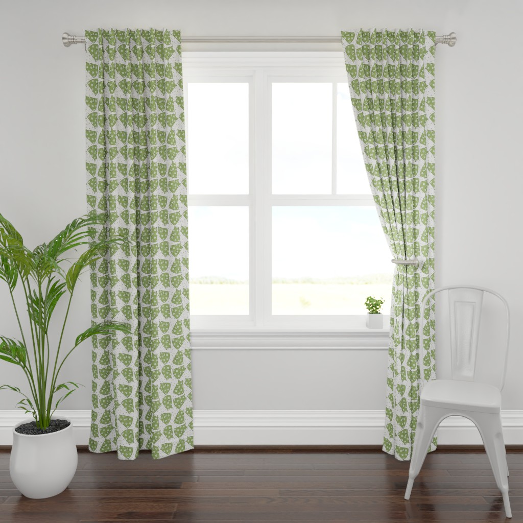 Plymouth Curtain Panel featuring Little Pinafores - green mono by designergal