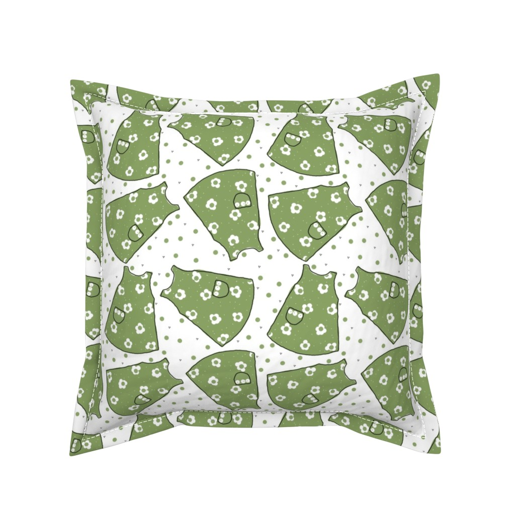 Serama Throw Pillow featuring Little Pinafores - green mono by designergal