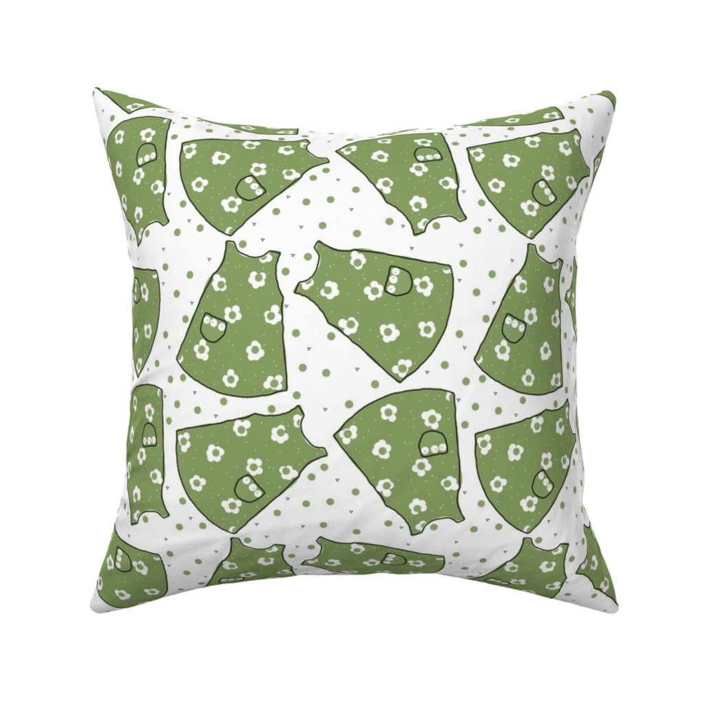 Catalan Throw Pillow featuring Little Pinafores - green mono by designergal
