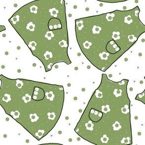 Little Pinafores - green mono