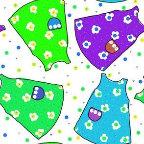 Little Pinafores - lime/seafoam/aqua/purple