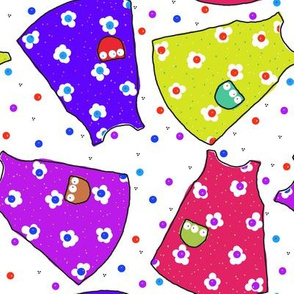 Little Pinafores - purple/pink/gold/blue