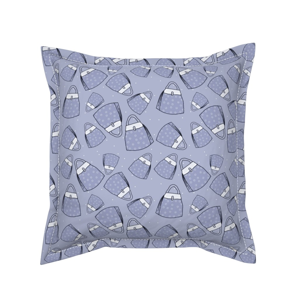 Serama Throw Pillow featuring Purses - blue mono by designergal