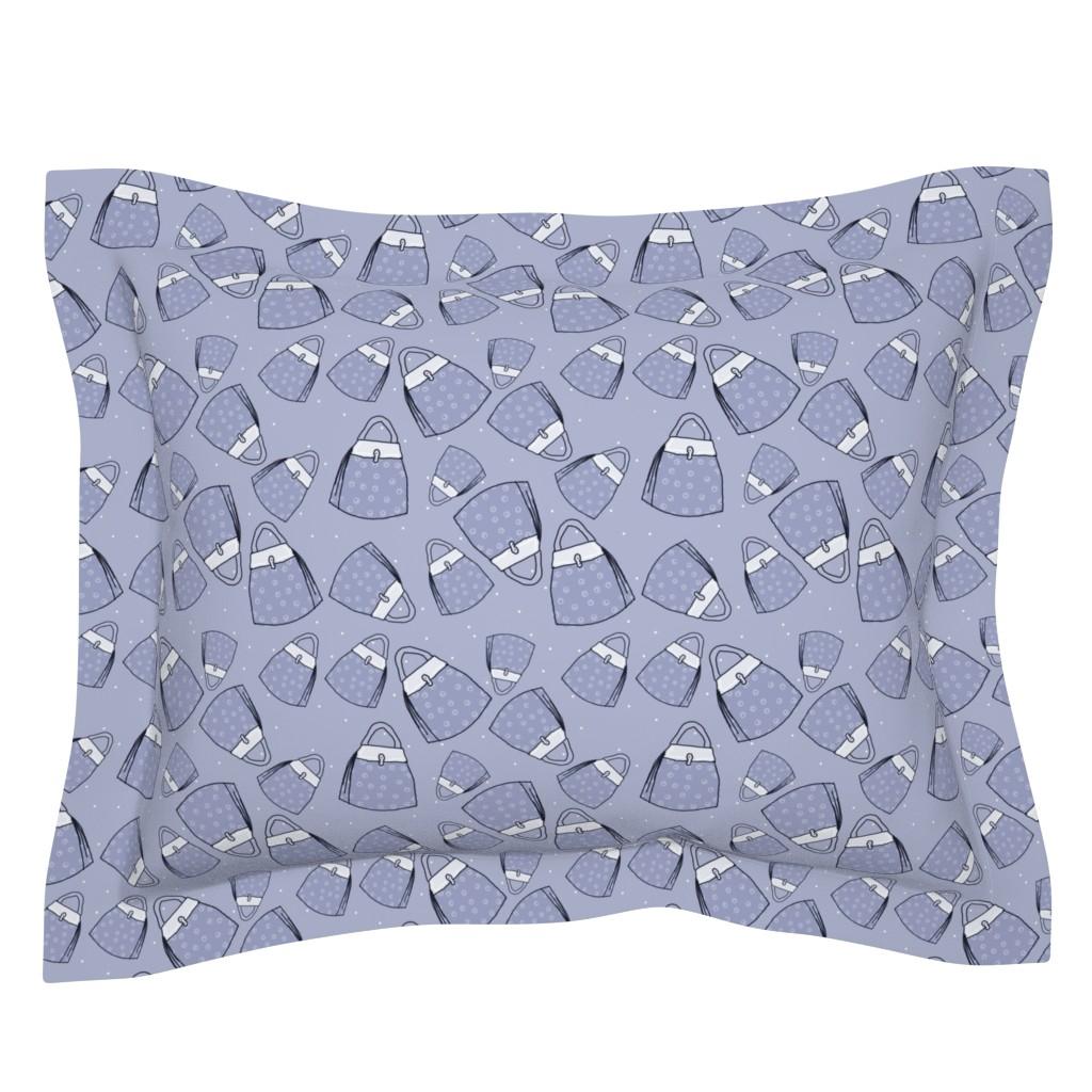 Sebright Pillow Sham featuring Purses - blue mono by designergal