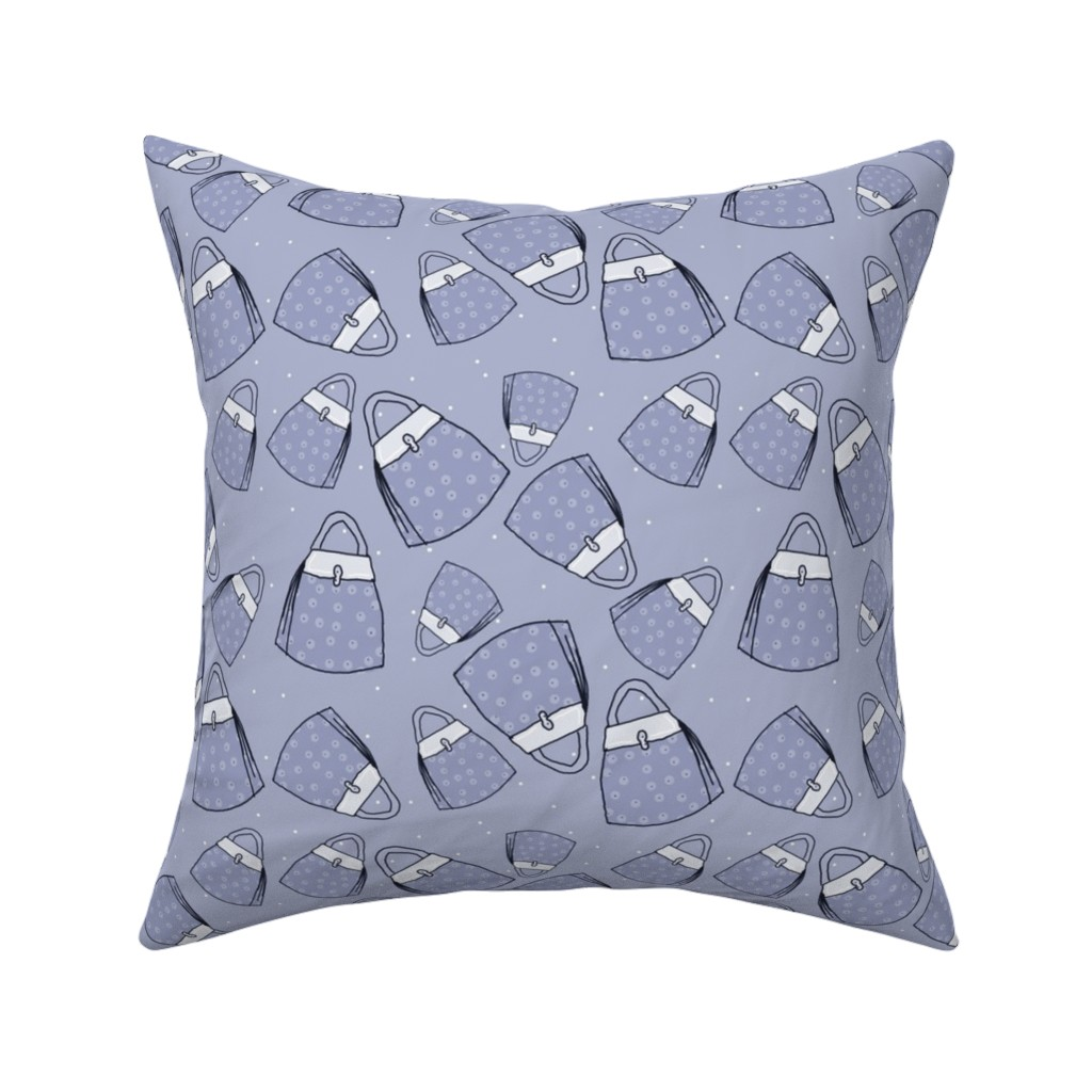Catalan Throw Pillow featuring Purses - blue mono by designergal