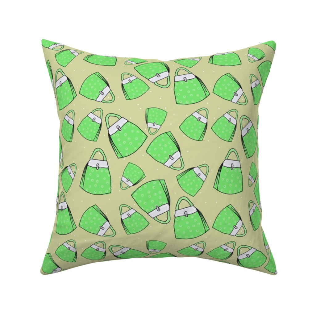 Catalan Throw Pillow featuring Purses - green on taupe by designergal